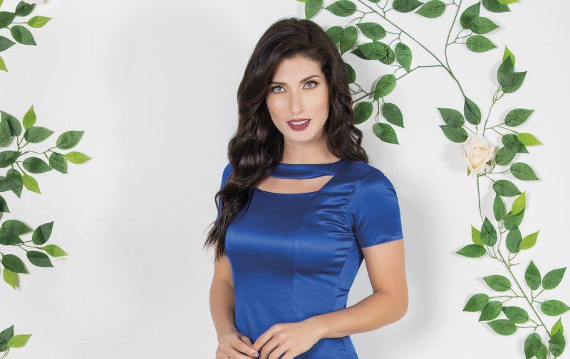 vestido de festa azul curto