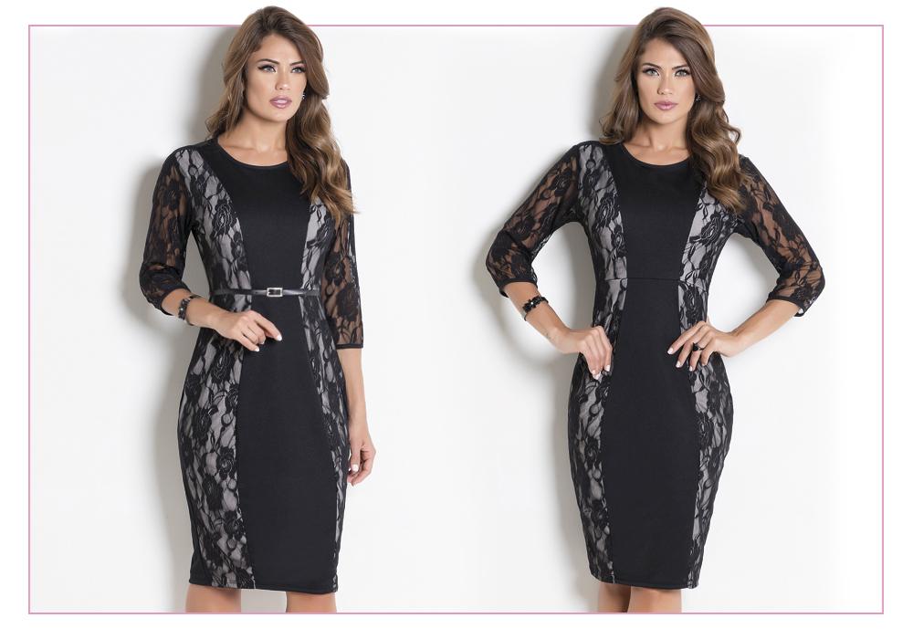 vestido de festa preto com renda