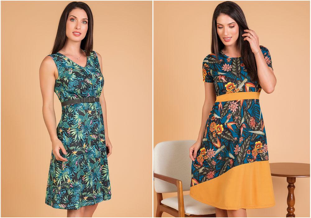 vestidos estampa tropical